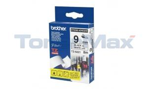 BROTHER TZ EXTRA-STRENGTH TAPE BLACK/WHITE 3/8IN (TZ-S221)