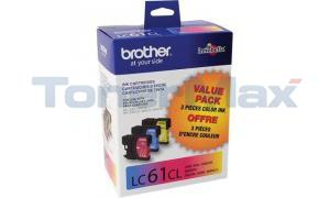 BROTHER MFC-6490CW INKJET CART TRI-COLOR (LC61-3PKS)