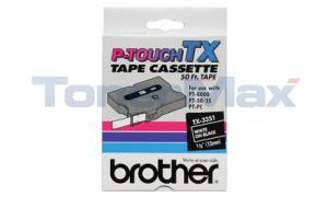 BROTHER P-TOUCH TAPE WHITE/BLACK (1/2 X 50) (TX-3351)