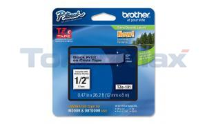 BROTHER TZ LAMINATED TAPE BLACK ON CLEAR 0.47 IN X 26.2 FT (TZE-131)