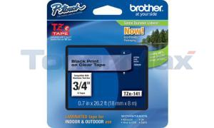 BROTHER TZ LAMINATE TAPE BLACK ON CLEAR 0.7 IN X 26.2 FT (TZE-141)