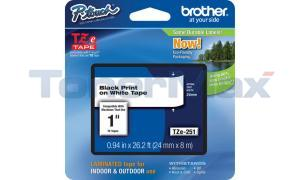 BROTHER TZ LAMINATED TAPE BLACK ON WHITE 0.94 IN X 26.2 FT (TZE-251)