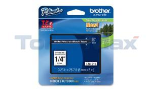 BROTHER TZ LAMINATED TAPE WHITE ON BLACK 0.23 IN X 26.2 FT (TZE-315)