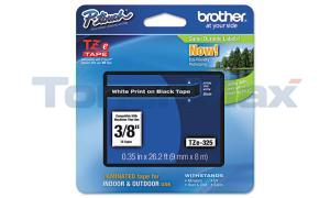 BROTHER TZ LAMINATED TAPE WHITE ON BLACK 0.35 IN X 26.2 FT (TZE-325)