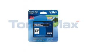 BROTHER TZ LAMINATED TAPE WHITE ON BLACK 0.47 IN X 26.2 FT (TZE-335)