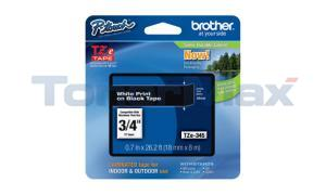 BROTHER TZ LAMINATED TAPE WHITE ON BLACK 0.7 IN X 26.2 FT (TZE-345)