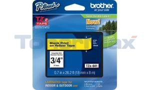 BROTHER TZ LAMINATED TAPE BLACK ON YELLOW 0.7 IN X 26.2 FT (TZE-641)