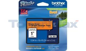 BROTHER TZ LAMINATED TAPE BLACK ON BRIGHT ORANGE 24 MM X 5 M (TZE-B51)