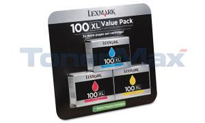 LEXMARK 100XL INK CART VALUE PACK C/M/Y RP HY (14N1188)