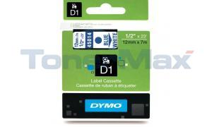DYMO D1 LABEL TAPE CASSETTE BLUE ON WHITE 12MM X 7M (45014)
